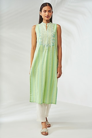 Lime Green Hand Embroidered Kurta by Anita Dongre Grassroot