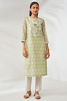 Green Printed Slit Kurta by Anita Dongre Grassroot-GIFTS FOR HER