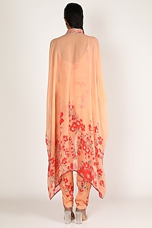 Peach & Red Embroidered Pant Set by Adah
