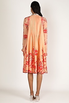 Peach & Red Embroidered Tunic by Adah