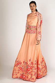 Peach & Red Embroidered Skirt Set by Adah