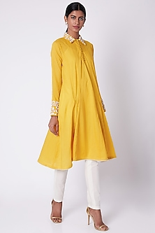 Yellow Hand Embroidered Shirt Tunic  by Adah