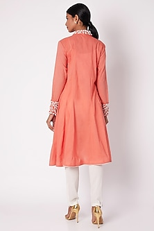 Peach Hand Embroidered Shirt Tunic  by Adah
