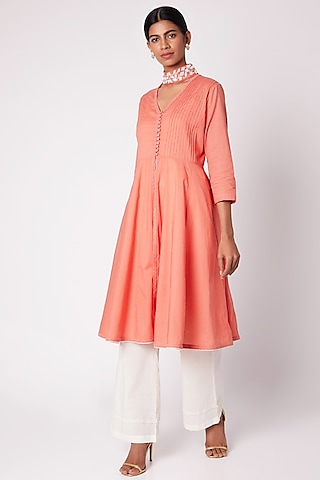 Peach Embroidered Open Front Tunic by Adah