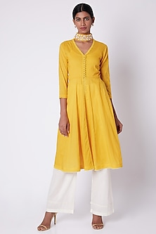 Yellow Embroidered Open Front Tunic by Adah
