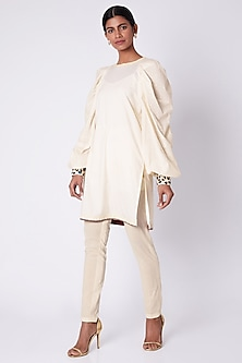 White Zari Hand Embroidered Tunic by Adah