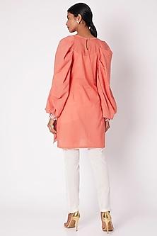 Peach Zari Hand Embroidered Tunic by Adah