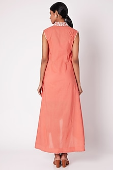 Peach Embroidered Wrap Around Dress by Adah