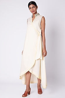 White Embroidered Wrap Around Dress by Adah