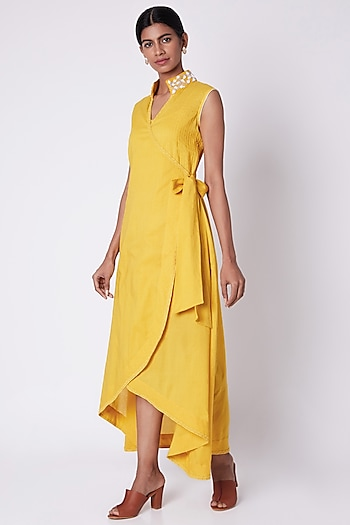 Yellow Embroidered Wrap Around Dress by Adah