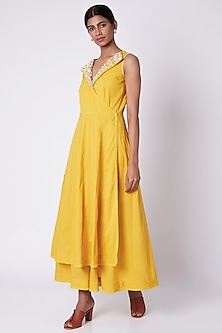 Yellow Embroidered Layered Tunic by Adah