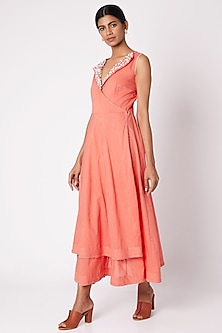 Peach Embroidered Layered Tunic by Adah
