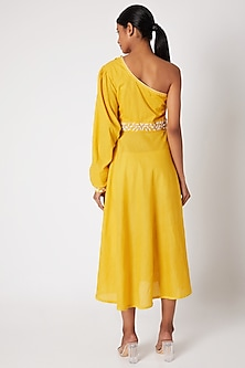 Yellow Embroidered One Shoulder Dress by Adah