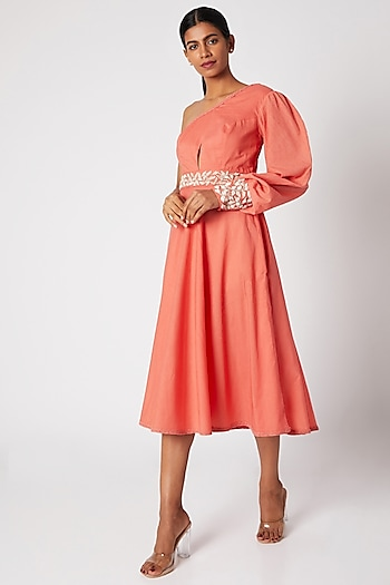 Peach Embroidered One Shoulder Dress by Adah