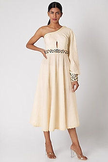White Embroidered One Shoulder Dress by Adah