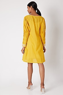 Yellow Embroidered Tunic With Pleated Sleeves by Adah