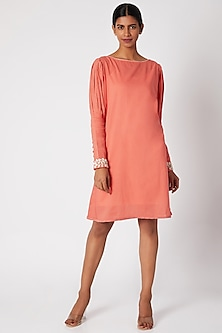 Peach Embroidered Tunic With Pleated Sleeves by Adah