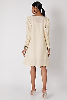 White Embroidered Tunic With Pleated Sleeves by Adah