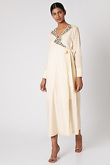 White Embroidered Wrap Dress by Adah