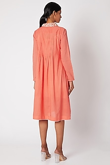 Peach Tunic With Embroidered Collar by Adah