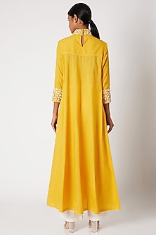 Yellow Embroidered Anarkali With Palazzo Pants by Adah