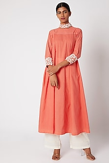 Peach Embroidered Anarkali With Palazzo Pants by Adah