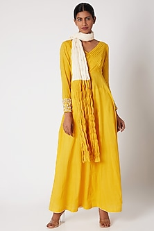 Yellow Embroidered Anarkali Set by Adah