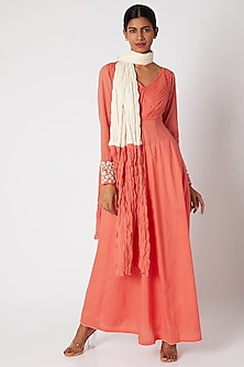 Peach Embroidered Anarkali Set by Adah