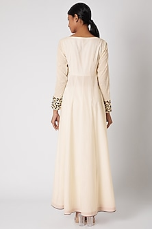 White Embroidered Anarkali Set by Adah