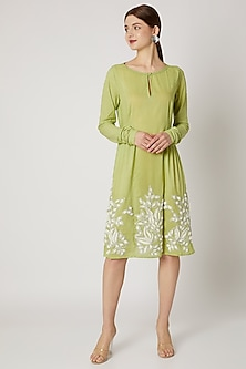 Lime Green Embroidered Tunic by Adah