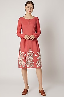 Red Embroidered Tunic With Textured Sleeves by Adah
