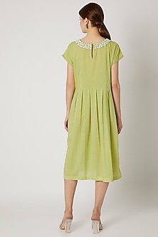 Lime Green Zari Embroidered Tunic by Adah