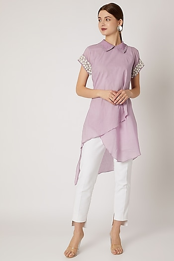 Purple Collared Tunic With Embroidered Sleeves  by Adah