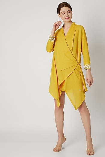 Yellow Wrap Tunic With Embroidered Cuffs by Adah