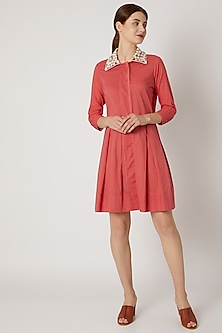 Red Tunic With Embroidered Collar by Adah