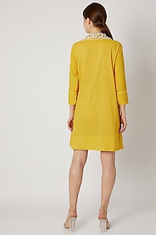 Yellow Tunic With Embroidered Collar by Adah