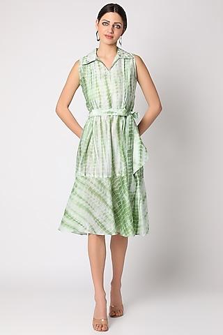 Mint Green Tie & Dye Chanderi Dress by Adah