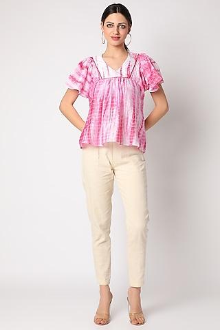 Blush Pink Tie & Dye Top by Adah