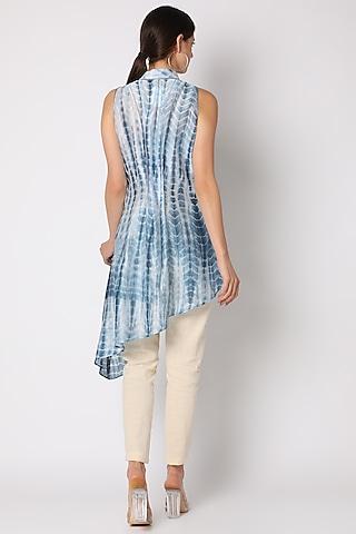 Cobalt Blue Tie & Dye Asymmetric Tunic by Adah