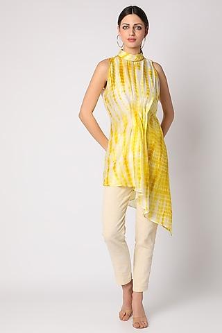 Yellow Tie & Dye Asymmetric Tunic by Adah