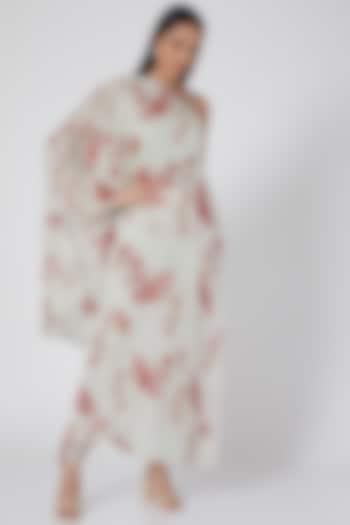 Mint Green Floral Printed One Shoulder Kurta Set by Adah