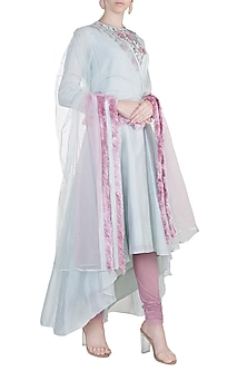 Blue & Pink Embroidered Anarkali Set by Adah