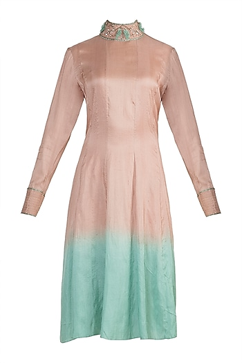 Nude To Green Dip Dyed Embroidered Tunic by Adah