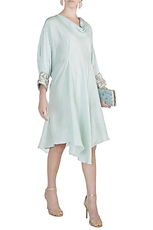 Blue Embroidered Asymmetric Tunic by Adah