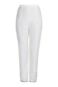 Off White Embroidered Fitted Pants by Adah