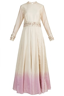 Beige & Pink Embroidered Anarkali With Dupatta by Adah