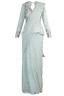 Light Blue Embroidered Saree Set by Adah