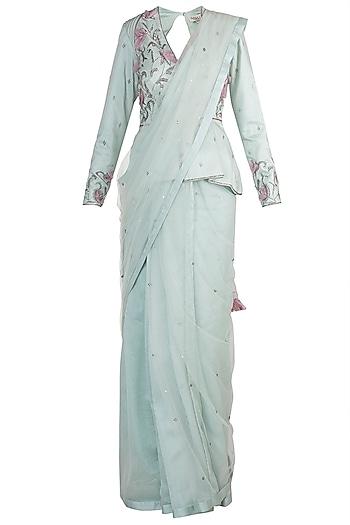Light Blue Embroidered Saree Set by Adah