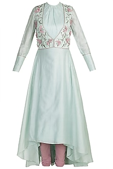 Blue Embroidered Anarkali Kurta With Jacket & Churidar Pants by Adah