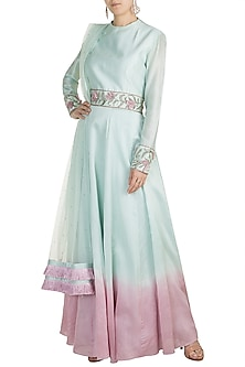 Blue Embroidered Anarkali Kurta With Dupatta by Adah